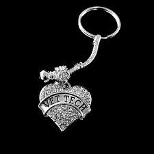 Vet Tech keychain  Vet Tech best Jewelry gift   Vet Tech Crystal Heart Charm