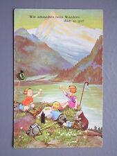 R&L Postcard: German Childrens Artists Drawn, Walking Mountaineering Drinking