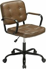 Pu Leather Home Office Chair Swivel Executive Pc Computer Desk Adjustable Brown