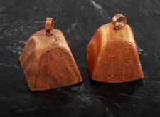 """Vintage Cow Bell Copper Coated Steel DIY Costuming Accessory Pair 1 1/4"""""""