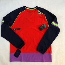 Nike Wild Run Men's Long-Sleeve Running Top Habanero Red Black Pullover Shirt M