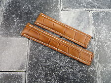 22mm Leather Strap Honey Brown Deployment Watch Band BREITLING NAVITIMER 22