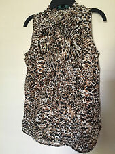 RALPH LAUREN Leopard Multi Geometric Ruffle Neck Sleeveless Tank Top Petites 0P