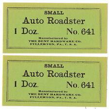 2 Lot DENT HARDWARE Auto Roadster # 641 Cast Iron 1 Doz VINTAGE Paper Box Label