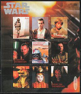 Souvenir sheet of 9 MNH stamps STAR WARS movie cinema self-adhesive 002