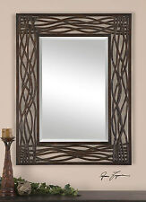 """NEW 42"""" FORGED METAL AGED MOCHA BROWN BLACK ACCENTS BEVELED WALL VANITY MIRROR"""