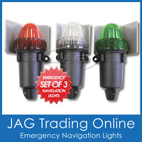 SET OF 3 EMERGENCY BATTERY BOAT NAVIGATION/NAV LIGHTS - Port/Starboard/Stern