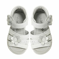 576b679d5957c NEW Child Girls Kids Open Toe Soft Leather Sandals in White sz 3-8 Approx