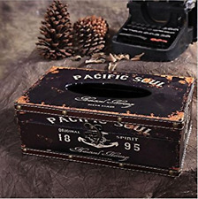 Retro Vintage Rustic Wood Tissue Holder Box Cover Facial Tissue Paper Dispenser