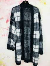 Guess Los Angeles Reversible Longline Cardigan L Large Check Black Christmas b4
