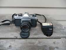 ASAHI PENTAX K1000  35mm SLR With Pentax 50mm Lens & AF 160 Flash TESTED