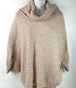 St John's Bay Poncho Knit Sweater Hi Lo Cowlneck Pullover Size XL NWT $54