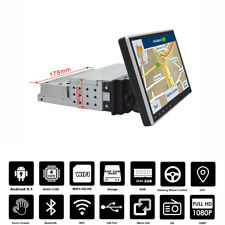 """9"""" Touch Screen 1 Din Android 9.1 Car Stereo GPS MP5 Player Quad Core Rotatable"""