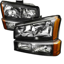 03-06 Chevy Silverado 1500/2500/3500 HD Headlights + Bumper Light Black Amber