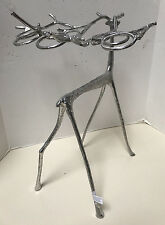 """NEW Pottery Barn Sculpted Reindeer Votive Candle Holder Silver Decor 22"""" Tall"""