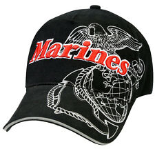 Military USMC Marine Corps Ballcap Cap Hat Vintage Style Black Rothco 9794