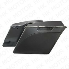 """4"""" Stretched Unpainted Black Saddlebags W/ Lib For '94-'13 Harley Touring Street"""