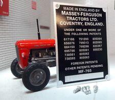 Massey Ferguson MF65 Tracteur Série Commission Plaque Châssis & rivets 1958-63