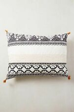 Anthropologie Shams ENMORE Tassel STANDARD Pillow Cotton Pair Embroidered NWT