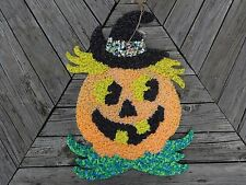 "Vintage Large Halloween Large 21.5"" x 16"" Pumpkin Melted Popcorn Decoration"