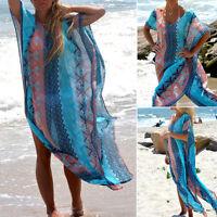 New Women Boho Swimwear Kaftan Bikini Cover up Beach Dress Bathing Suit Swimsuit