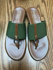 Italian Shoemakers Olive & Brown Sandals NWT Size 8