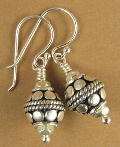 Silver fancy Indian bead earrings. Round, patterned. Sterling silver 925.