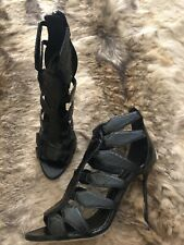 SERGIO ROSSI Black Python Ankle Straps Heel Sandals Shoes 40 UK 7 BNWT