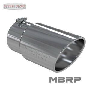 """MBRP 12"""" STAINLESS STEEL EXHAUST TIP 5"""" INLET 6"""" OUTLET ANGLED ROLLED END T5075"""