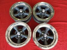 VINTAGE SET OF REAL ANSEN 5 SPOKE TORQUE THRUST MAGS 14X6 4 3/4  CHEVY HOT ROD