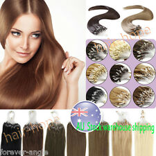 Micro Ring Beads Loop Tip European Remy Human Hair Extensions 18-22Inch AU Stock