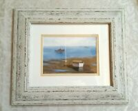"Framed Art Low Tide - Nicely Framed, Matted, Labeled with Dust Paper 12x14"" size"
