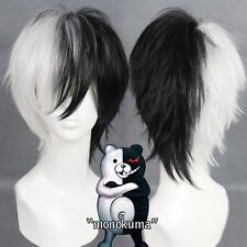 Men Black White Short Full Hairpieces Wig 32cm Jack Monokuma Cosplay