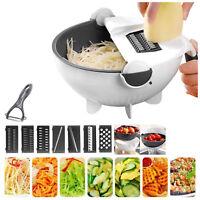 Multifunction Magic Rotate Vegetable Fruit Cutter Grater w/Washing Basket 9 In 1