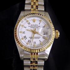 Rolex Datejust Damen 2tone 18K Gold & Edelstahl Armbanduhr Weiß Römische 69173