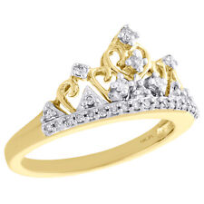 14K Yellow Gold Diamond Queen Crown Filigree Right Hand Cocktail Ring 0.20 Ct.