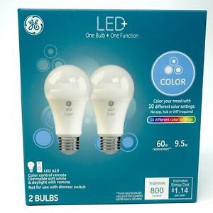 LED Color Changing GE A19 Light Bulb + Remote Control, 60 W Replacement (2-Pack)