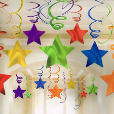 DARK RAINBOW SHOOTING STAR SWIRL DECORATIONS (30) ~ Birthday Party Supplies Foil