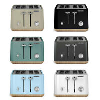 Morphy Richards Scandi Aspect 4 Slice Toaster w/ Wooden Trim/Crumb Tray