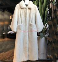 Womens Soft Fur Thick Winter Warm Real Genuine Mink Fur Long Coat Jacket Parkas