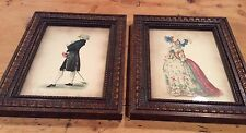Beaded Wood Framed Fashion Plate Illustrated Prints 1800's