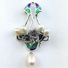 ART NOUVEAU INSPIRED PLIQUE A JOUR NATURALISTIC PEARL RUBY BROOCH SILVER 925