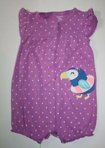 New Carter's Girls Tropical Bird Purple Romper Outfit NB 3m 6m 9m 18m 24m