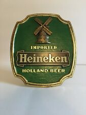 Vintage Heineken Imported Holland Beer Wall Mounting Sign Windmill Green Gold