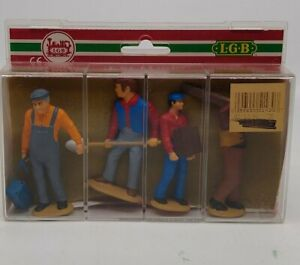 LGB 5143 Standing Railroad Worker Figures G Scale (Set of 4) LN/Box