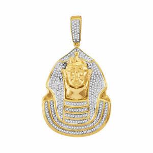 10k Gelbgold Herren Rund Diamant Pharao Halo Anhänger 7/8 Cttw