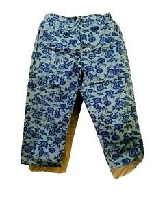 J. Jill Floral Gray And Blue Printed Trousers