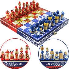 Khokhloma vs Gzhel Unique Chess Set - Russian Gzhel and Hohloma Chess Board Set