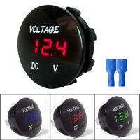 Mini round DC 12v-24v LED car boat digital display voltmeter meter 5colors B Js
