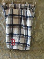 Boston Red Sox blue gray plaid swim trunks size XXL. 100% polyester New shorts